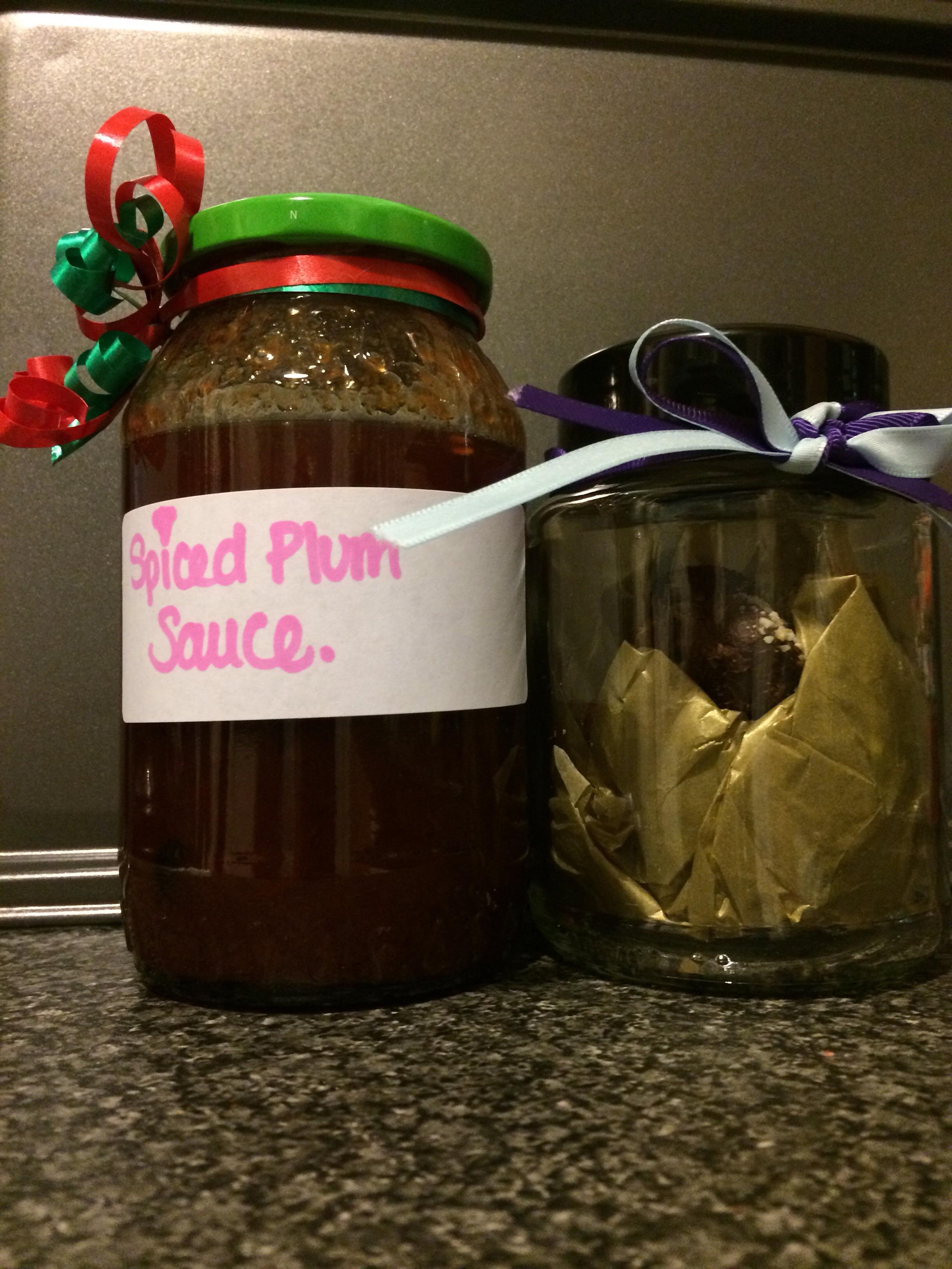 Spiced Plum Sauce & Chocolate Truffles